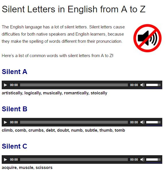 sillent letters english